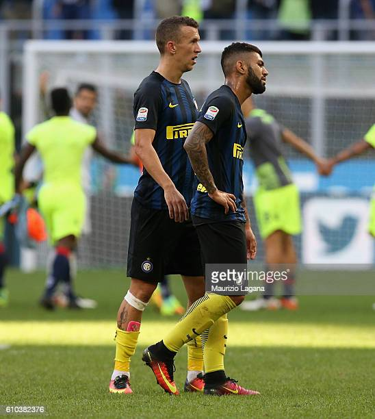 Gabriel Barbosa and Ivan Perisic of Inter shown their dejection during the Serie A match between FC Internazionale and Bologna FC at Stadio Giuseppe...
