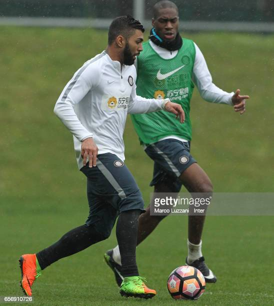 Gabriel Barbosa Gabigol competes with Geoffrey Kondogbia during the FC Internazionale training session at the club's training ground Suning Training...