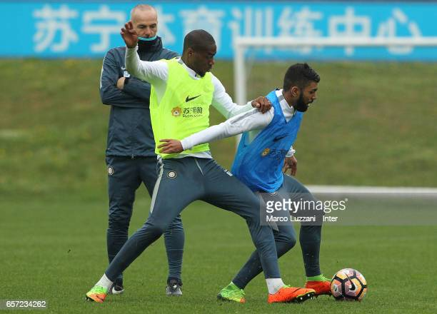Gabriel Barbosa Gabigol is challenged by Geoffrey Kondogbia during the FC Internazionale training session at the club's training ground Suning...
