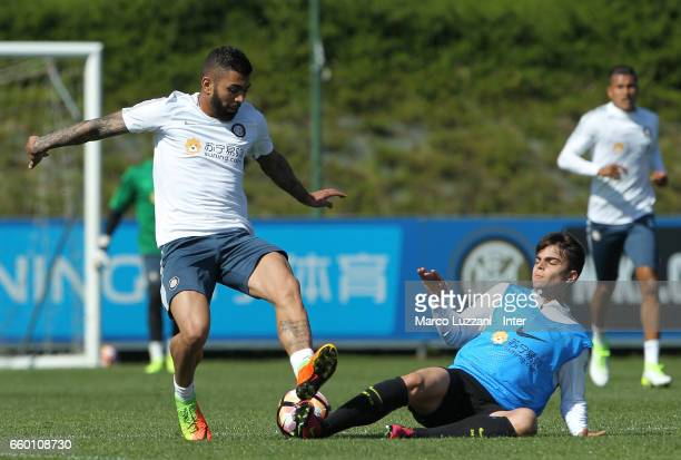 Gabriel Barbosa Gabigol of FC Internazionale is challenged by during the FC Internazionale training session at the club's training ground Suning...