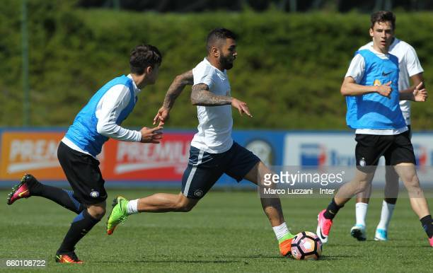 Gabriel Barbosa Gabigol of FC Internazionale is challenged during the FC Internazionale training session at the club's training ground Suning...