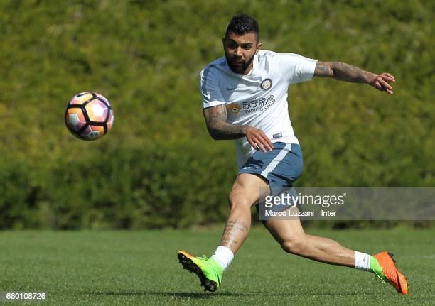 Gabriel Barbosa Gabigol of FC Internazionale kicks a ball during the FC Internazionale training session at the club's training ground Suning Training...