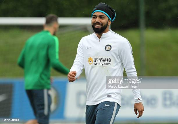 Gabriel Barbosa Gabigol of FC Internazionale Milano looks on during the FC Internazionale training session at the club's training ground Suning...