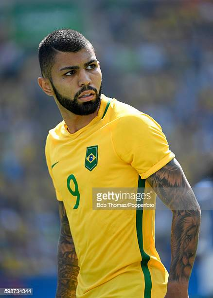 Gabriel Barbosa in action for Brazil during the Men's Semifinal Football match between Brazil and Honduras at Maracana Stadium on Day 12 of the Rio...