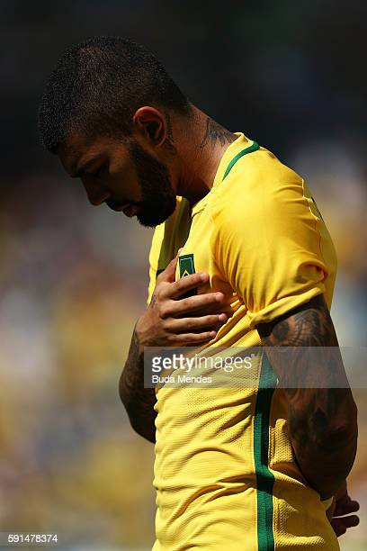 Gabriel Barbosa of Brazil ahead of the Men's Semifinal Football match between Brazil and Honduras at Maracana Stadium on Day 12 of the Rio 2016...