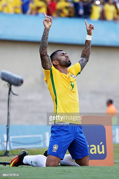 Gabriel Barbosa of Brazil celebrates scoring his team's first goal during the international friendly match between Japan and Brazil at the Estadio...
