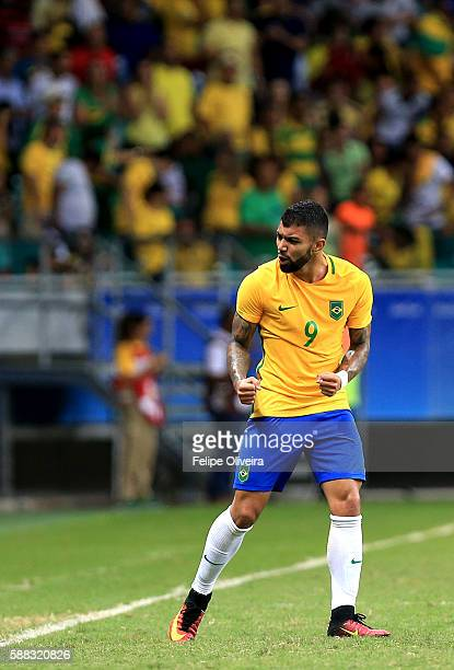 Gabriel Barbosa of Brazil celebreates after scoring during the match Brazil v Denmark on Day 5 of the Rio 2016 Olympic Games at Arena Fonte Nova on...
