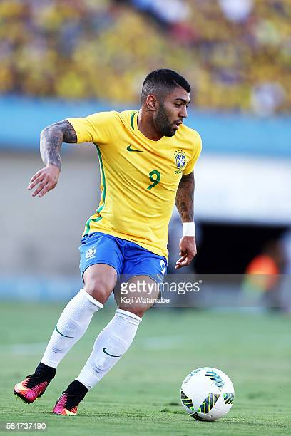 Gabriel Barbosa of Brazil in action during the international friendly match between Japan and Brazil at the Estadio Serra Dourada on July 30 2016 in...