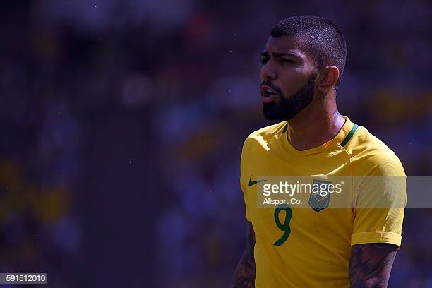 Gabriel Barbosa of Brazil looks on during the Men's Semifinal Football match between Brazil and Honduras at Maracana Stadium on Day 12 of the Rio...