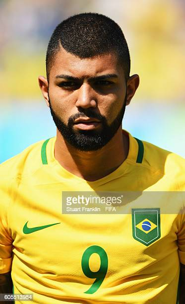 Gabriel Barbosa of Brazil looks on during the Olympic Men's semi final match between Brazil and Honduras at Maracana Stadium on August 17 2016 in Rio...