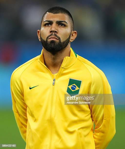 Gabriel Barbosa of Brazil stand for the national anthen before the match between Brazil and Colombia mens football quarter final at Arena Corinthians...