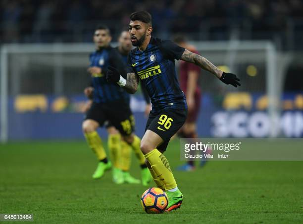 Gabriel Barbosa of FC Internazionale in action during the Serie A match between FC Internazionale and AS Roma at Stadio Giuseppe Meazza on February...