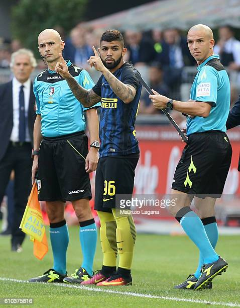 Gabriel Barbosa of Inter enters in the pitch during the Serie A match between FC Internazionale and Bologna FC at Stadio Giuseppe Meazza on September...