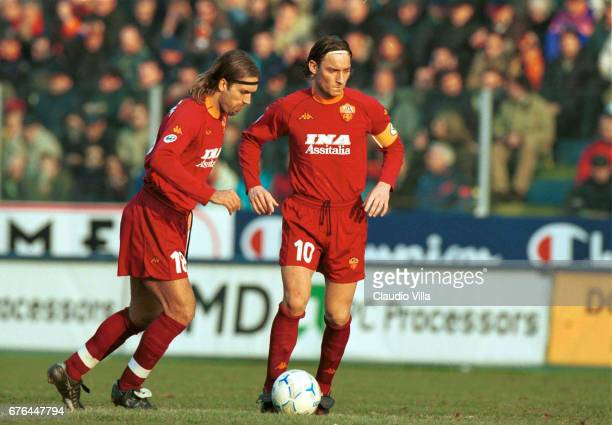 Gabriel Batistuta and Francesco Totti of Roma during the SERIE A 25th Round League match between Fiorentina and Roma played at the Comunale stadium...
