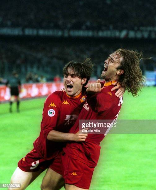 Gabriel Batistuta and Vincenzo Montella of AS Roma celebrate during the SERIE A 29th Round League match between Juventus and Roma played at the Delle...