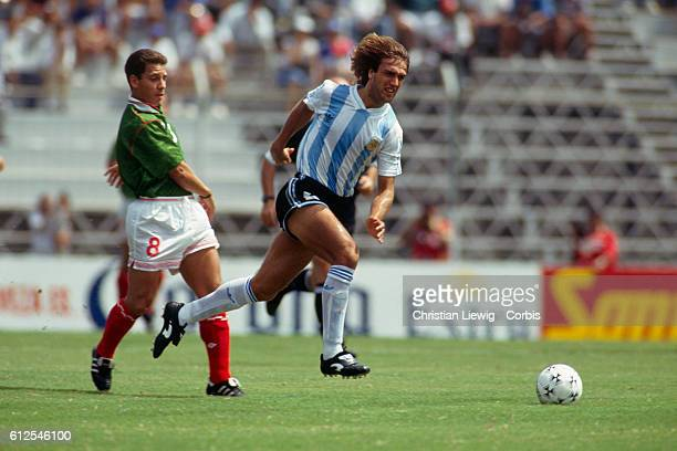 Gabriel Batistuta in action during a match of the 1993 Copa America against Mexico