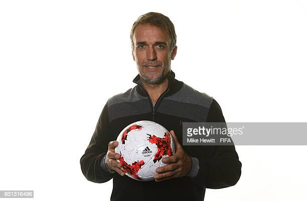 Gabriel Batistuta of Argentina poses with a ball prior to The Best FIFA Football Awards at Kameha Zurich Hotel on January 9 2017 in Zurich Switzerland