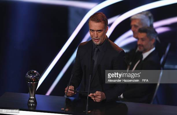 Gabriel Batistuta of Argentina presents The Best FIFA Women's Player award during The Best FIFA Football Awards at TPC Studio on January 9 2017 in...