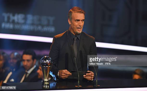 Gabriel Batistuta of Argentina talks during The Best FIFA Football Awards at TPC Studio on January 9 2017 in Zurich Switzerland