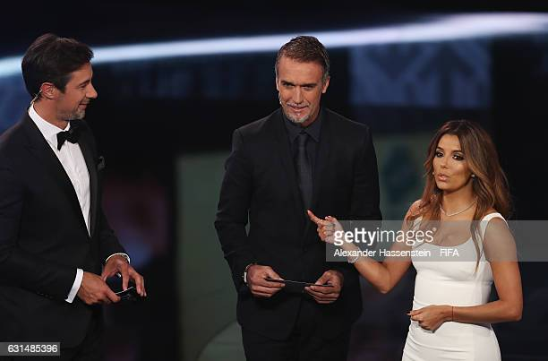 Gabriel Batistuta of Argentina talks with presenters Marco Schreyl and Eva Longoria during The Best FIFA Football Awards at TPC Studio on January 9...