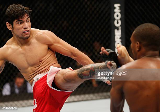 Gabriel Benitez kicks Humberto Brown in their featherweight bout during the UFC 180 event at Arena Ciudad de Mexico on November 15 2014 in Mexico...