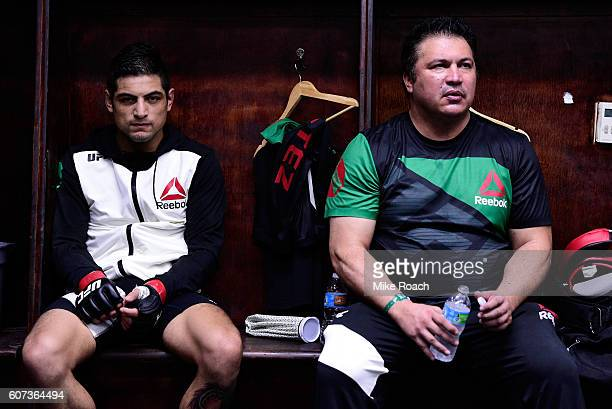 Gabriel Benitez of Mexico sits backstage during the UFC Fight Night event at State Farm Arena on September 17 2016 in Hidalgo Texas