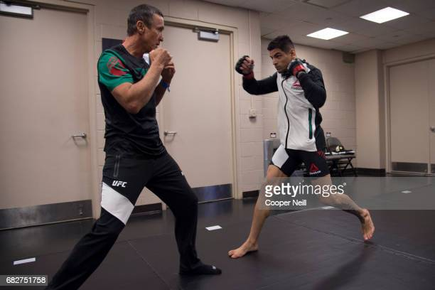 Gabriel Benitez warms up in the locker room before fighting Enrique Barzola during UFC 211 at the American Airlines Center on May 13 2017 in Dallas...