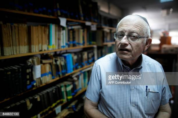 Gabriel Birnbaum senior researcher at Historical Dictionary Project at Israel's Academy of the Hebrew Language in Jerusalem is seen on August 23 2017...