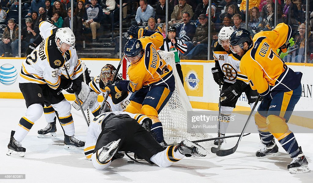 <a gi-track='captionPersonalityLinkClicked' href=/galleries/search?phrase=Gabriel+Bourque&family=editorial&specificpeople=5627917 ng-click='$event.stopPropagation()'>Gabriel Bourque</a> #57 of the Nashville Predators battles for the puck under <a gi-track='captionPersonalityLinkClicked' href=/galleries/search?phrase=Adam+McQuaid&family=editorial&specificpeople=2238883 ng-click='$event.stopPropagation()'>Adam McQuaid</a> #54 of the Boston Bruins at Bridgestone Arena on December 23, 2013 in Nashville, Tennessee.