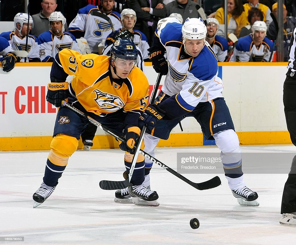 <a gi-track='captionPersonalityLinkClicked' href=/galleries/search?phrase=Gabriel+Bourque&family=editorial&specificpeople=5627917 ng-click='$event.stopPropagation()'>Gabriel Bourque</a> #57 of the Nashville Predators skates against <a gi-track='captionPersonalityLinkClicked' href=/galleries/search?phrase=Brenden+Morrow&family=editorial&specificpeople=202256 ng-click='$event.stopPropagation()'>Brenden Morrow</a> #10 of the St. Louis Blues at Bridgestone Arena on October 26, 2013 in Nashville, Tennessee.