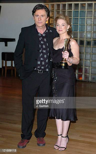 Gabriel Byrne and Eva Birthistle holding her Best Irish Actress Award for her performance in 'Ae Fond Kiss'