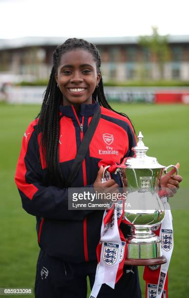 Gabriel Clarke of Arsenal Ladies with the trophy after the FA Girls' Youth Cup Final between Millwall Lionesses U16 Vs Arsenal Ladies U16 at St...