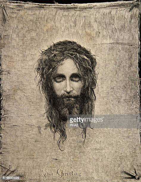 Gabriel Cornelius Ritter von Max Austrian painter Image of Christ's face Veil of Veronica 1874 Engraving by A Reculski El Universo Ilustrado 1880