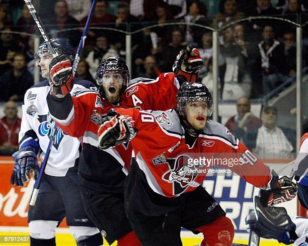 Gabriel Dumont and Yannick Riendeau of the Drummondville Voltigeurs celebrate Dumonts gamewinning goal during the game against the Rimouski Oceanic...