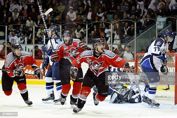 Gabriel Dumont of the Drummondville Voltigeurs celebrates his gamewinning goal in overtime against the Rimouski Oceanic during the 2009 Mastercard...