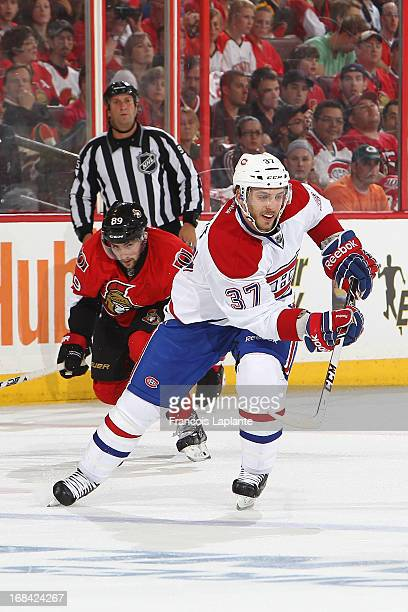 Gabriel Dumont of the Montreal Canadiens skates against the Ottawa Senators in Game Four of the Eastern Conference Quarterfinals during the 2013 NHL...
