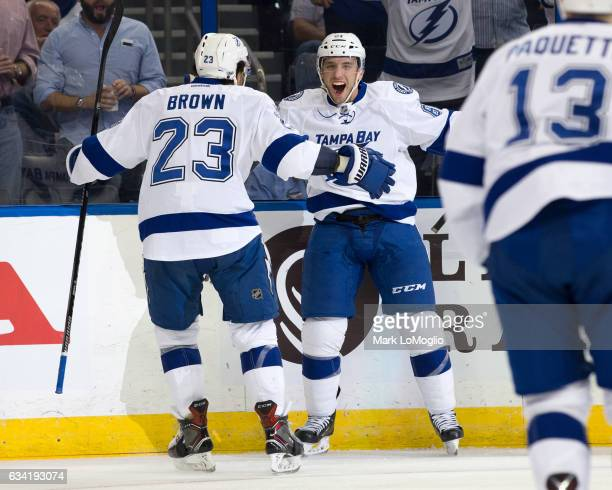 Gabriel Dumont of the Tampa Bay Lightning celebrates his goal with teammate JT Brown and against the Los Angeles Kings during the second period at...