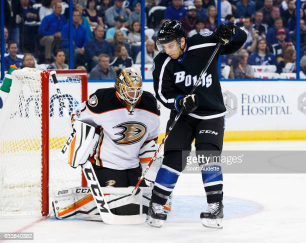 Gabriel Dumont of the Tampa Bay Lightning deflects the puck against goalie Jonathan Bernier of the Anaheim Ducks during the first period at Amalie...