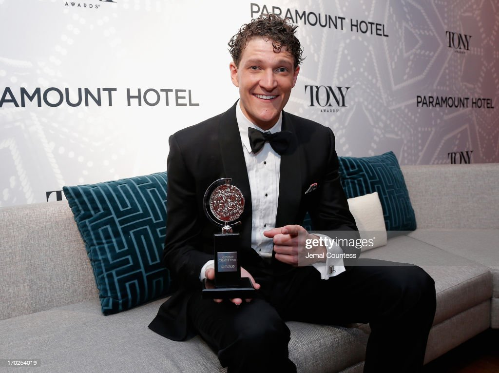 Gabriel Ebert, winner of the Tony Award for Best Performance by an Actor in a Featured Role in a Musical for 'Matilda the Musical,' attends The 67th Annual Tony Awards Paramount Winners' Room at Radio City Music Hall on June 9, 2013 in New York City.