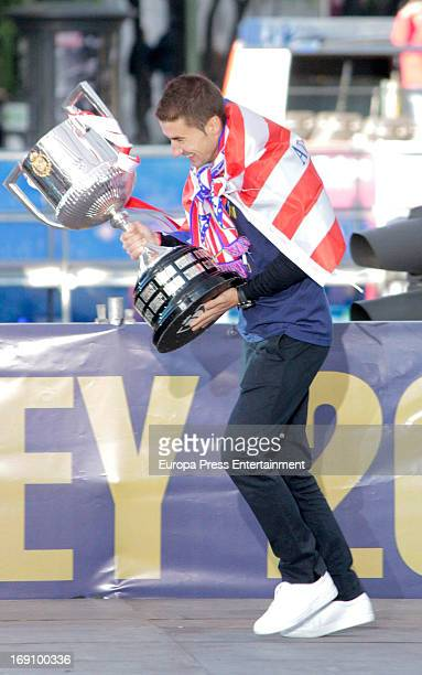 Gabriel Fernandez Arenas celebrates winning Spanish King's Cup after winning Real Madrid CF at Neptuno Square on May 18 2013 in Madrid Spain Atletico...