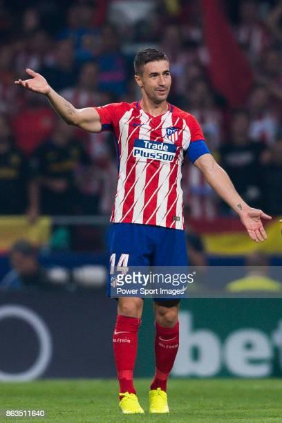 Gabriel Fernandez Arenas Gabi of Atletico de Madrid reacts during the La Liga 201718 match between Atletico de Madrid and FC Barcelona at Wanda...