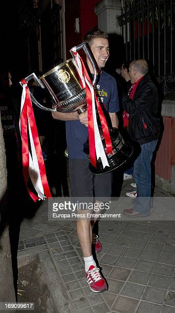 Gabriel Fernandez Arenas of Atletico de Madrid celebrate winning the Spanish King's Cup after beating Real Madrid at Fortuny Nightclub on May 17 2013...