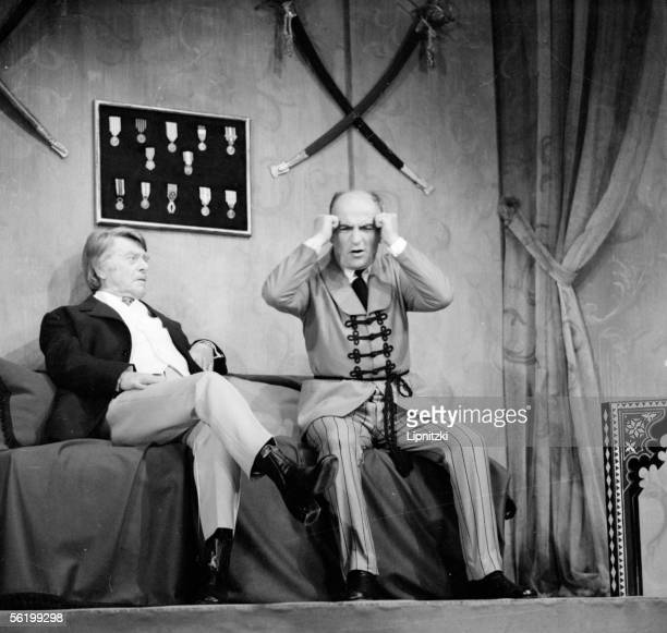 Gabriel Gobin and Louis de Funes in 'La Valse des toreadors' of Jean Anouilh Paris Comedie of ChampsElysees october 1973