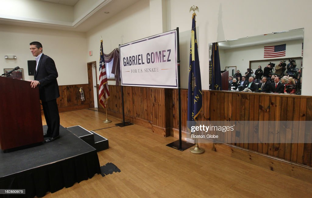 Gabriel Gomez appears on the campaign trail for first time, as a candidate for US Senate.
