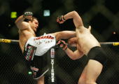 Gabriel Gonzaga of USA knocks out Mirko Cro Cop of Croatia during a Heavyweight bout of the Ultimate Fighting Championship at the Manchester Evening...