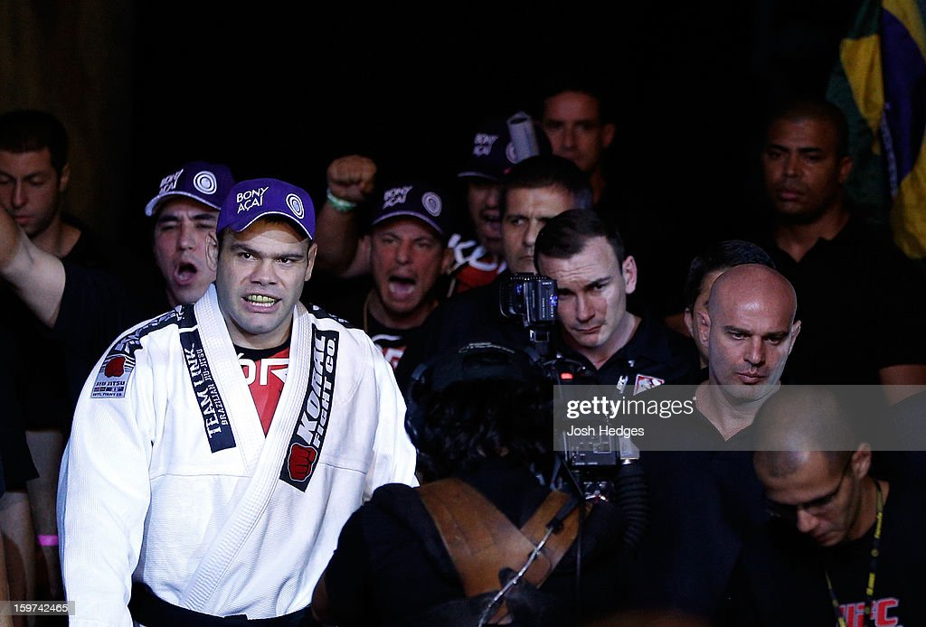Gabriel Gonzaga prepares to enter the Octagon before his heavyweight fight against Ben Rothwell at the UFC on FX event on January 19, 2013 at Ibirapuera Gymnasium in Sao Paulo, Brazil.
