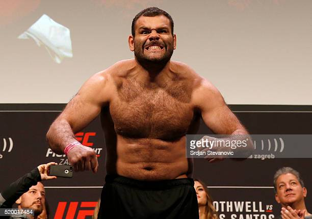 Gabriel Gonzaga weighs in during the UFC Fight Night weighin at the Arena Zagreb on April 9 2016 in Zagreb Croatia