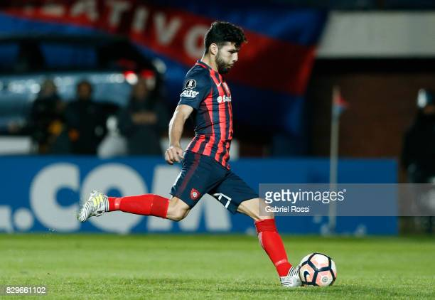 Gabriel Gudiño of San Lorenzo kicks during the penalty shootout after a second leg match between San Lorenzo and Emelec as part of round of 16 of...