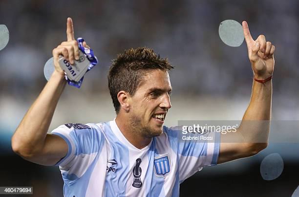 Gabriel Hauche of Racing Club celebrates the championship after winning a match between Racing Club and Godoy Cruz as part of 19th round of Torneo de...