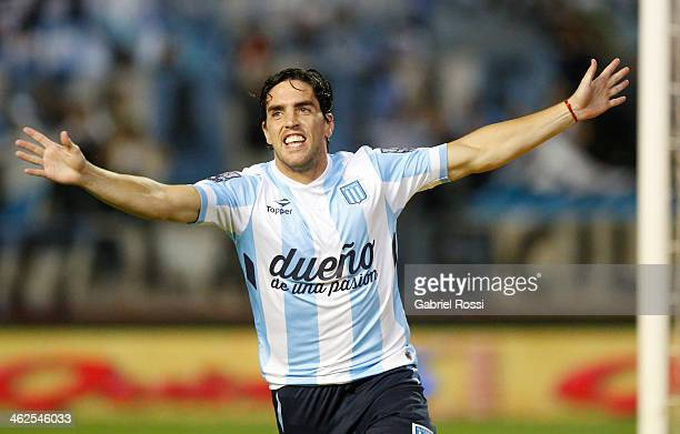 Gabriel Hauche of Racing Club celebrates the opening goal during a match between Racing Club and Independiente as part of the summer friendly...